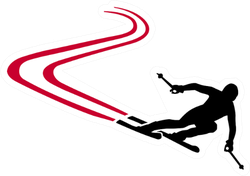 Ski Run With Red Track Sticker