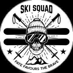 Ski Squad Skull Sticker