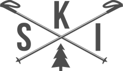 Ski with Crossed Poles Sticker