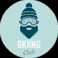 Skier With Beard Ski Club Sticker