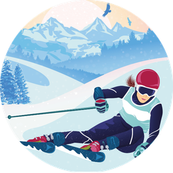 Skiing In The Mountains Scenery Sticker