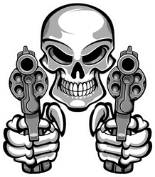 Skull Aiming Two Revolvers Sticker