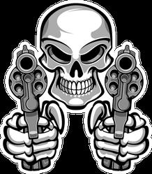 Skull Aiming Two Revolvers Sticker