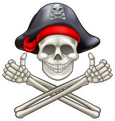 Skull And Crossbones Thumbs Up Pirate Sticker