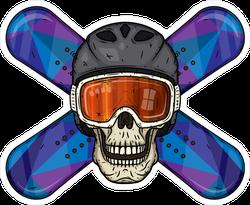 Skull and Crossed Snowboard Sticker