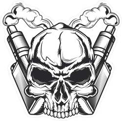 Skull And Crossed Vaporizers Sticker