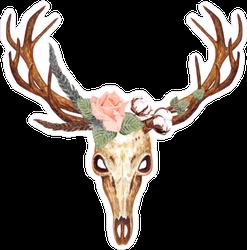 Skull and Flower Deer Sticker
