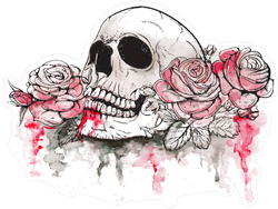 Skull And Flowers Day Of The Dead Illustration Sticker