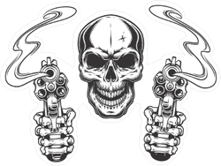 Skull and Smoking Guns Sticker