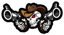 Skull Cowboy Aiming Guns Sticker