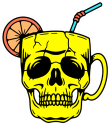 Skull Cup Cocktail Sticker