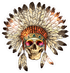 Skull in Feather Headdress and Sunglasses Sticker