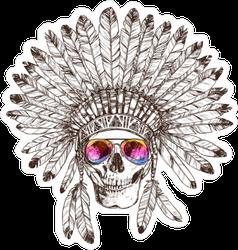 Skull in Native American Indian Headdress and Sunglasses Sticker