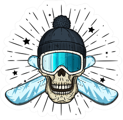 Skull In Ski Goggles And Crossed Snowboard Sticker