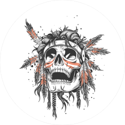 Skull Of An Indian Warrior Sticker