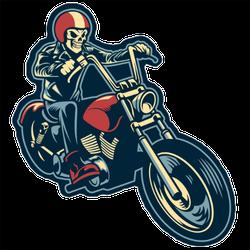 Skull Riding a Big Motorcycle Sticker