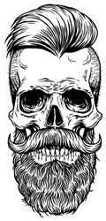 Skull Tattoo With Mustache And Beard Sticker