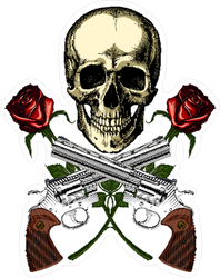 Skull with Crossed Guns and Roses Sticker