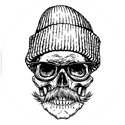 Skull With Mustache And Beanie Sticker