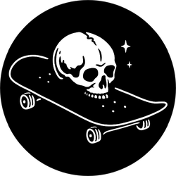 Skull With Skateboard Logo Sticker