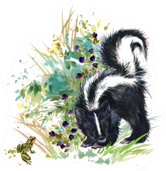 Skunk Forest Animals Watercolor Illustration Sticker