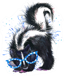 Skunk Watercolor Illustration In Blue Sunglasses Sticker