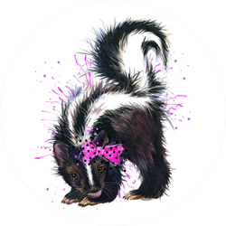 Skunk Watercolor Illustration In Pink Bow Sticker