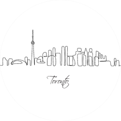Skyline Cityscape Continuous One Line Drawing Toronto Sticker