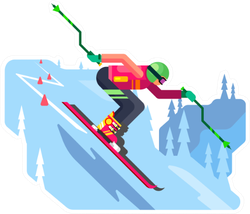 Slalom Downhill Skiing Sticker