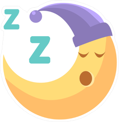Sleeping Cartoon Crescent Moon Sticker