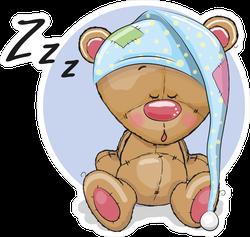 Sleeping Cute Teddy Bear With Cap Sticker