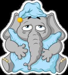 Sleepy Cartoon Elephant Sticker