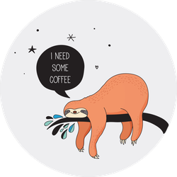 Sleepy Sloth Wanting Coffee Sticker