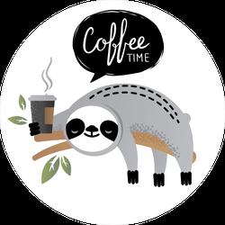 Sloth Coffee Time Sticker