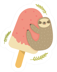 Sloth Hanging From Ice Cream Sticker