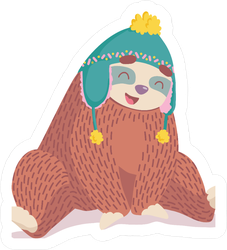 Sloth In A Winter Hat Sticker