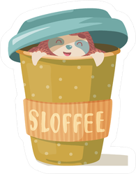 Sloth In Coffee Cup Sticker