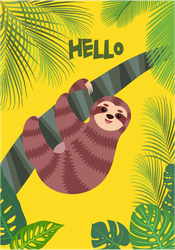 Sloth In Palm Trees Sticker