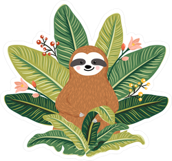 Sloth Sitting Among Greenery Sticker
