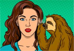 Sloth Whispering To Woman Pop Art Sticker