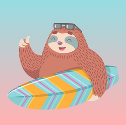 Sloth With Surf Board Sticker
