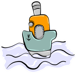 Small Boat On Water Cute Illustration Sticker