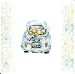 Small Italian Car With Lemons Sticker