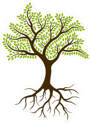 Small Rounded Tree With Leaves And Roots Sticker
