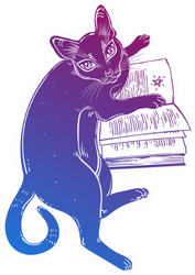 Smart Black Cat Reading The Magic Book Sticker