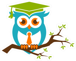 Smart Owl With Tie On A Branch Sticker