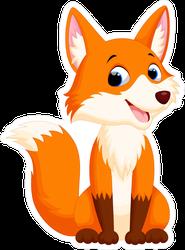 Smiling Cartoon Fox Sticker