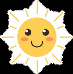 Smiling Cartoon Sun with Rosy Cheeks Sticker