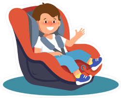Smiling Child in Car Seat Sticker