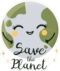Cute Smiling Save The Planet Sticker